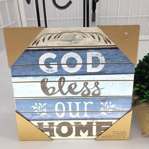 """""""God Bless Our Home"""" Wood Groove Plaque"""